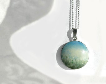 Hand Painted Necklace, Sterling Silver Charm Silver Bezel Pendant,  Original Painting Necklace Landscape Flower Field, White Flowers