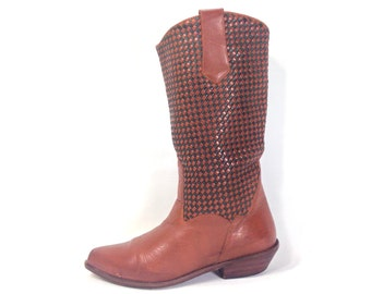 Brown Leather Cowgirl Boots 7 - Womens Leather Cowboy Boots 7 - Hippie Riding Boots 7 - Western Boots 7 - Woven Leather Cowgirl Boots 7