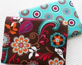 Large Flower Cotton Fabric, Shabby Chic Floral Brown Blue A B Cotton Quilting Fabric-  1/2 yard