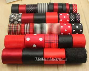 33 Yards Black Red Ribbon Lot - 1 yard each of Solid Polka Dot Plaid Flower Satin Ribbon Grosgrain Ribbon