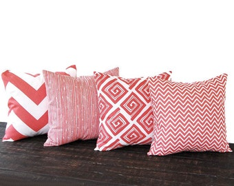 "Coral throw pillow covers 18"" x 18"" Set Of Four cushion cover coral chevron pillow covers modern home decor"