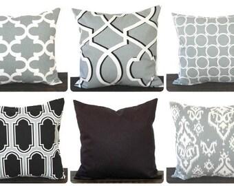 Pillow, Throw Pillow, Pillow Cover, Cushion, Toss Pillow, Decorative Pillow, in cool grey black white throw pillow modern decor