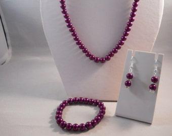 8mm Purple Pearls Necklace, Bracelet and Earrings set