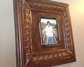 Huge 8 x 10 distressed antique brown and tan ceiling tin picture frame