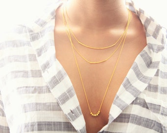 Gold Bar Necklace, Dainty Thin Gold Layering Necklace
