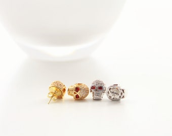 Skull Micro Pave Stud Earrings