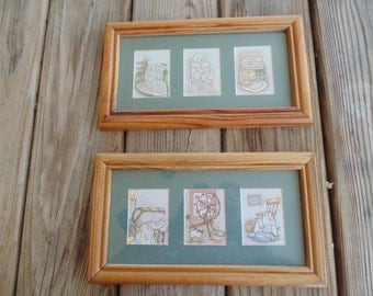 Pair of Vintage Matted and Framed Country-style or Nursery Quilt-themed Pastel Prints