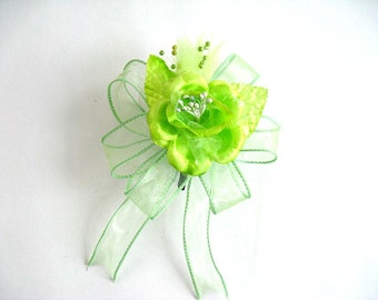 Apple green wedding gift bow, Bridal shower bow, All occasion bow, Gift wrap bow,  Bow for presents, Small gift bow, Floral corsage (W109)