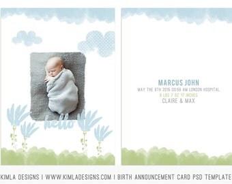 5x7in Birth Announcement Card PSD Template