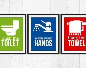 Kids Bathroom Art Prints,  Kids Bathroom Rules, Kids Bathroom Decor, Bathroom Rules, Kids Bath Art, Bath Art Print,  Flush Wash Hang