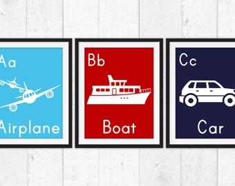 Transportation airplane boat car, boys wall art, Boys Decor, Kids Wall Art, Baby art, Transportation decor, boys nursery, kids truck art