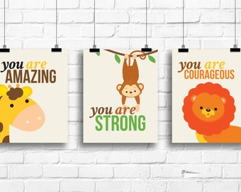 you are strong, you are amazing, you are courageous prints, baby nursery quotes, baby nursery art, nursery wall decor, jungle animals prints