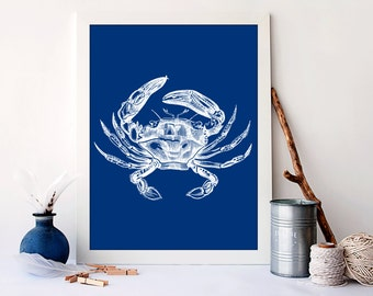 Crab art print, nautical nursery art,  vintage nursery nautical, nautical nursery wall art, ocean wall decor, nautical crab poster, A-1051