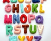 MAGNET ALPHABET from Polka dot felt fabric - Felt Letters , Colorful Letters , High quality Educational Toy
