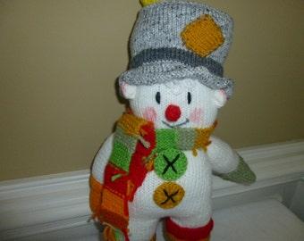 Snowman - Clown - Soft - Hand Knit Toy -