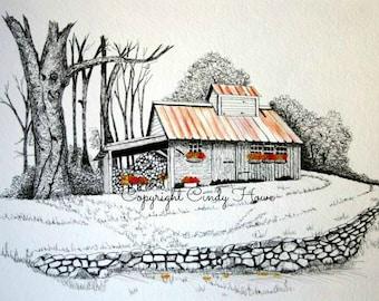 Digital art, barn, barns, farm, old barn, barn scene, farm landscape, watercolor barn, pen and ink, landscape, stone wall