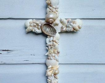 Seashell Cross on Reclaimed Wood/Beach House Decor/Beach Wedding Cross