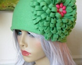 Green Fleece Headband Giant Fleece Flower Ski Cap Earwarmer Fleece Accessories Conversation Starter Serious Fleece Fashion