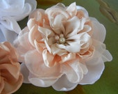 Set of Three, Fabric Flower, Layered Peony Flower, Flower Accessories, Hair Accessories
