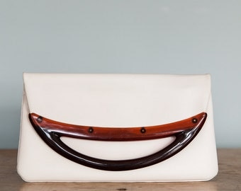 White Faux Leather Foldover Clutch