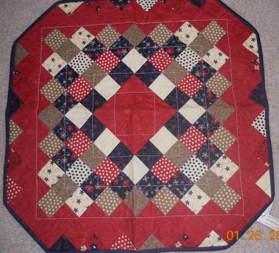 Patriotic Table Topper, red, white, blue, tan, patriotic, topper, 26 inches, handmade, Material Things, candle mat, runner, washable