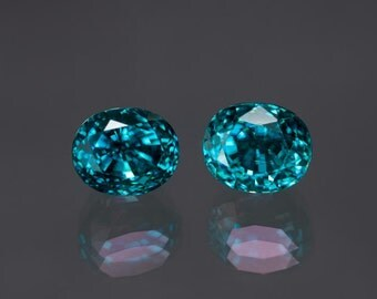 20.00ctw- 9x11mm rare matching pair of faceted oval blue Zircon loose gemstones from Cambodia