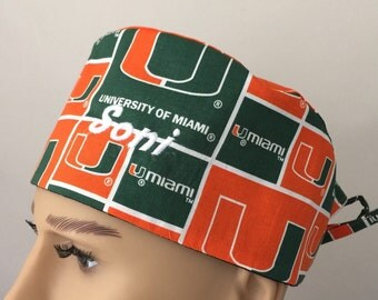 Unisex Scrub Cap - University of Miami Scrub Cap - UM Scrub Hat - scrub hat - NCAA Scrub Hat - Vet Tech Scrub Hat - Nurses hat
