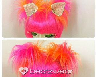 MADE TO ORDER clip in cat ears animal costume cosplay pink orange purple tie dye iridescent sequin disco kitty ears