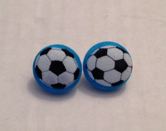Handmade Soccer Mom Fabric Button Earrings! Size Small.