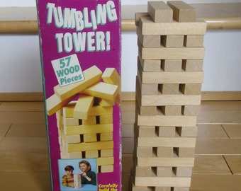 Vintage Game - Tumbling Tower, Cardinal Industries, Made in Indonesia 1980s, 56 Blocks, Wood Building Blocks, Children's Game, Cottage Decor