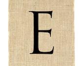 Letter E Unframed, burlap print, burlap art, monogram, alphabet, burlap wall decor