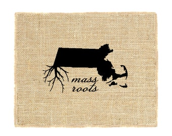 Mass Roots Unframed Wall Art, Custom Wall Art, Know your roots, Custom State Outline, Burlap Wall Art