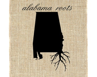 Alabama Roots Unframed, Burlap Art, State Roots, Southern Home, Burlap Decor by Fiber and Water