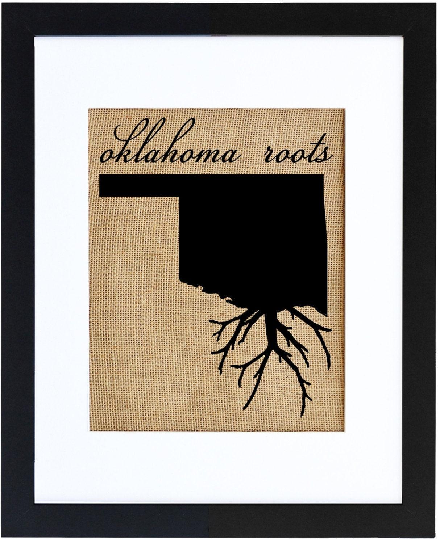 Oklahoma Roots Wall Art Burlap Prints Burlap Art Custom