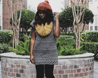 Ready To Ship! Handmade Boatneck Short Sleeved Crochet Sweater Dress.