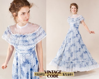 Vintage Southern Belle dress  / illusion neckline dress / 70s airy ruffle dress gown / Wedding Bridesmaid dress /   size Small