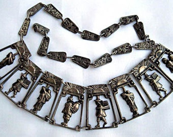 Inca Folklore Panels Necklace, Native Tribal Figural Scenes Pre Columbian Glyphs, 900 Silver, Signed Ecuador, South American Choker Collar