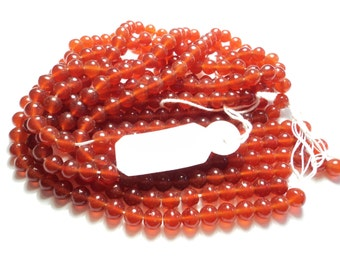 3 strands- 6mm Carnelian glass beads -m98