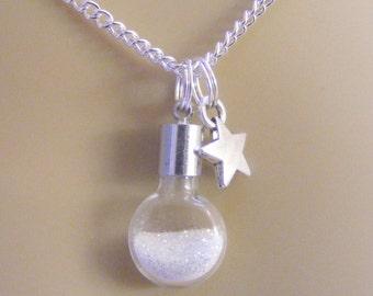 Stardust Necklace, Star Necklace, Miniature Bottle Necklace, Bottle of Stardust, Wish Necklace, Miniature Bottle Pendant, Mini Bottle Kawaii