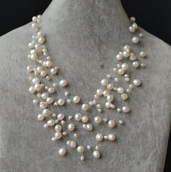 Floating Necklace Illusion Necklace Pearl Necklace Ivory