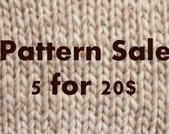 Pattern sale, knitting patterns, crochet patterns