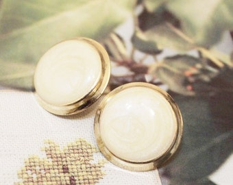Vintage Gold Earrings, Cream and Gold Stud Earrings, Gifts Ideas Under 15