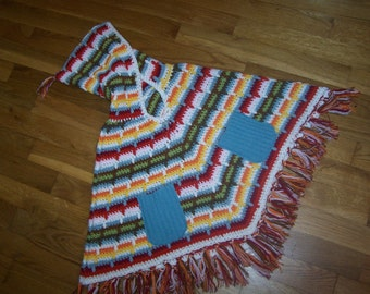 Lil' Hags....Brightly striped girls hippie poncho....size 6.....Free Shipping in US....
