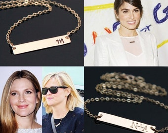 Celebrity BAR Necklace, Gold Bar Necklace, Nikki Reed - Reese Witherspoon Bar Necklace, Personalized Necklace, Greek Initial.