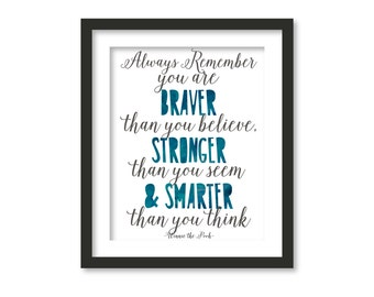always remember you are braver than you belive, blue watercolor,kids wall art, quote, typography art,nursery decor, purple, blue watercolor