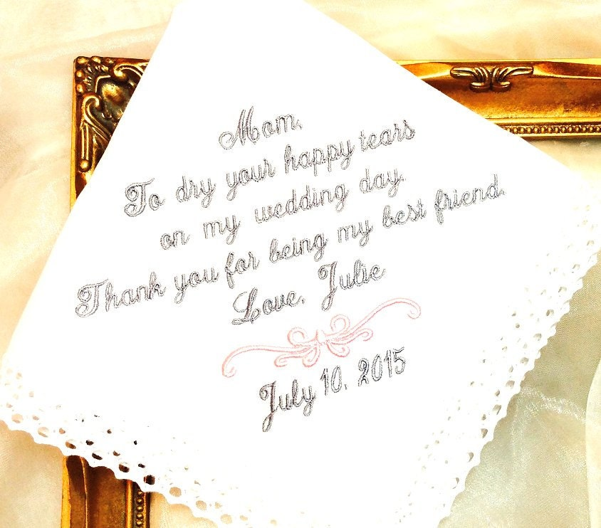 Wedding Gift For Best Friend: Mother Of The Bride Handkerchief MOB Thank You By MisterandMrs