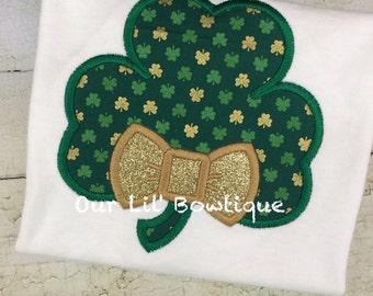 St. Patrick's Day Shamrock Shirt - Personalized St. Patricks Day Shirt - Boy - Toddler - Baby -  Monogrammed Shamrock