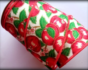 """Sweet Apple Wide Wired Ribbon, Red, 2 1/2"""" inch wide, 1 yard, For Home Decor, Gift Baskets, Party Decorations, Mixed Media"""