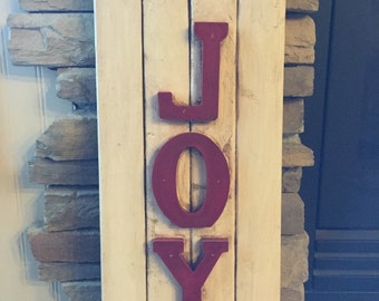 "Antiqued Distressed White Christmas Joy Shutter 10"" x 23"""