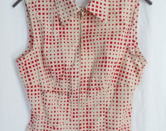 RESERVED-80s Claude Montana Paris OP Art Pixel pattern red ivory checked blouse/ front zip sleeveless: size